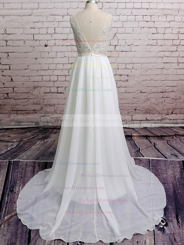 Chiffon with Appliques Lace Court Train Backless V-neck Casual Wedding Dresses #PDS00020671