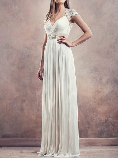 Affordable Ivory Chiffon Lace Pleats Cap Straps Sheath/Column Wedding Dresses #PDS00020675