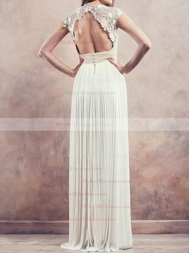 Affordable Ivory Chiffon Lace Pleats Cap Straps Sheath/Column Wedding Dresses #PDS00020675