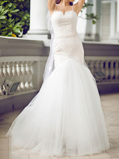 2016 White Tulle Sweetheart Appliques Lace Trumpet/Mermaid Wedding Dresses #PDS00020680