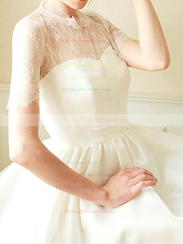 Short/Mini White Satin Lace Short Sleeve High Neck 2016 Wedding Dress #PDS00020682