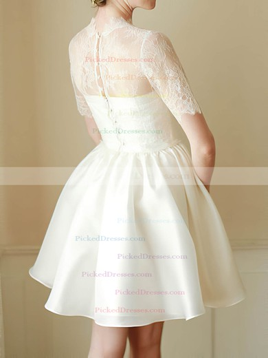 Short/Mini White Satin Lace Short Sleeve High Neck 2016 Wedding Dress #PDS00020682