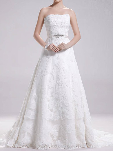 Best Sweep Train Strapless Lace-up Sashes/Ribbons White Lace Wedding Dress #PDS00020695