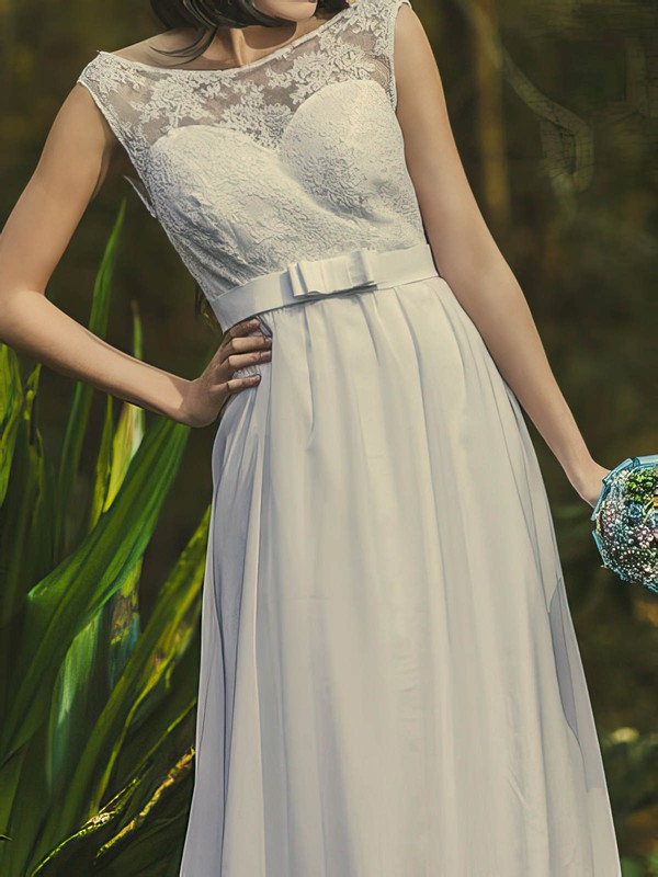 Exclusive Scoop Neck White Chiffon Lace Sashes/Ribbons Open Back Wedding Dresses