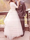 Designer Ball Gown White Tulle with Appliques Lace 1/2 Sleeve Wedding Dress #PDS00020707