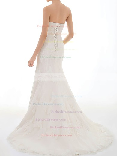 Sweetheart Hot Lace with Beading Lace-up Trumpet/Mermaid Ivory Wedding Dress #PDS00020717