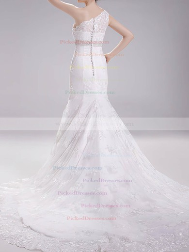 Affordable One Shoulder White Lace Covered Button Trumpet/Mermaid Wedding Dresses #PDS00020718