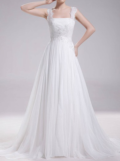 Newest Sweep Train Chiffon Lace Straps Square Neckline A-line Wedding Dresses #PDS00020719