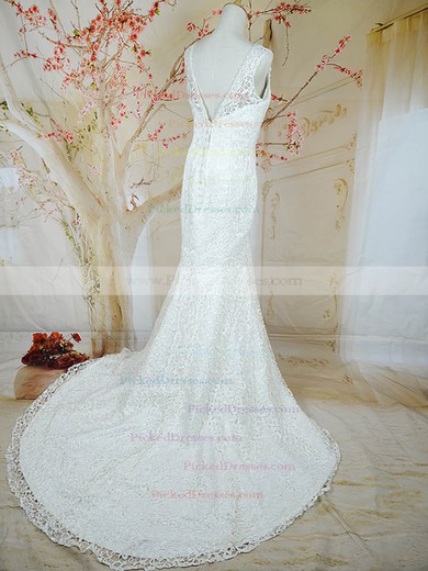 Trumpet/Mermaid Best White Lace Buttons Court Train V-neck Wedding Dresses #PDS00020721