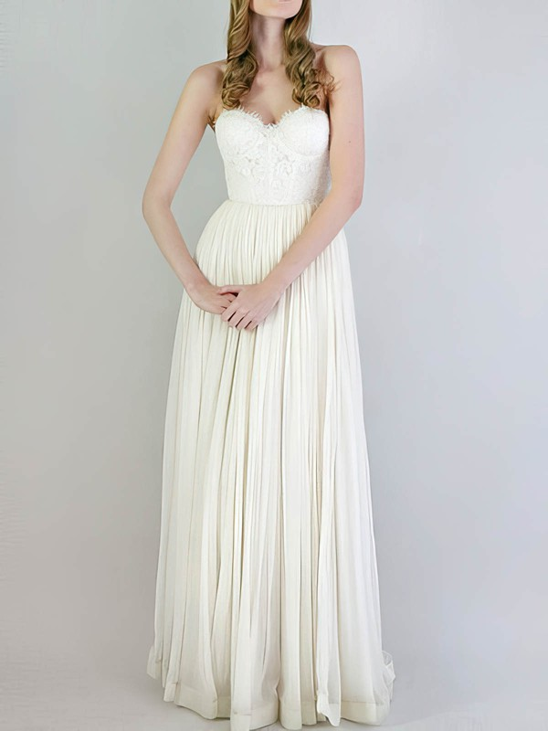 Empire Sweetheart Ivory Chiffon Lace with Ruffles Newest Wedding Dresses