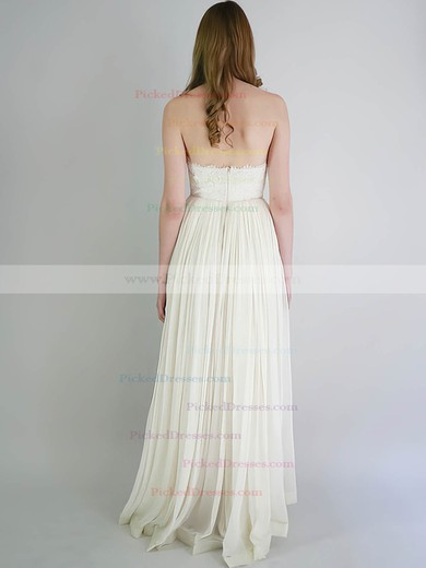 Empire Sweetheart Ivory Chiffon Lace with Ruffles Newest Wedding Dresses #PDS00020741