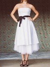 Famous Tea-length Taffeta with Sashes/Ribbons Strapless White Wedding Dress #PDS00020748