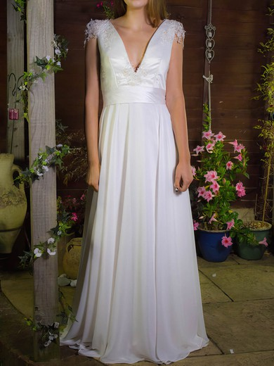 Fashion V-neck White Chiffon Satin with Appliques Lace Floor-length Wedding Dress #PDS00020755