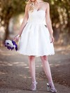 Ball Gown Knee-length with Detachable Straps Ivory Satin Lace Sweetheart Wedding Dresses #PDS00020764