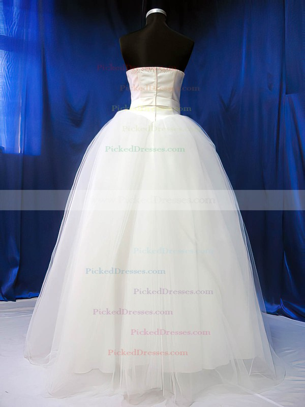 Newest Ball Gown Ivory Satin Tulle Sashes/Ribbons Sweetheart Wedding Dresses #PDS00020783