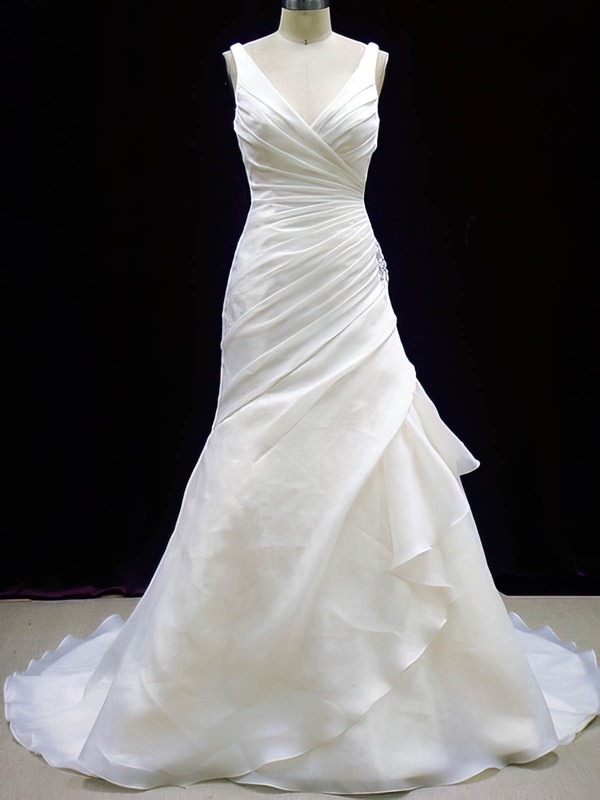 Best V-neck Organza with Button Pleats Trumpet/Mermaid Ivory Wedding Dresses #PDS00020784