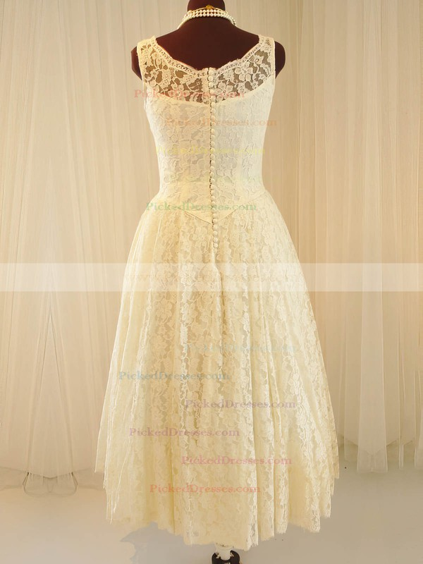Scoop Neck Ivory Lace with Buttons Vintage Tea-length Wedding Dresses #PDS00020790