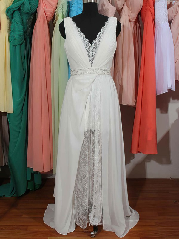 Cute V-neck Sheath/Column Lace Chiffon with Beading Backless White Wedding Dresses