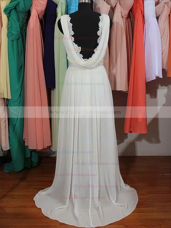 Cute V-neck Sheath/Column Lace Chiffon with Beading Backless White Wedding Dresses #PDS00020803