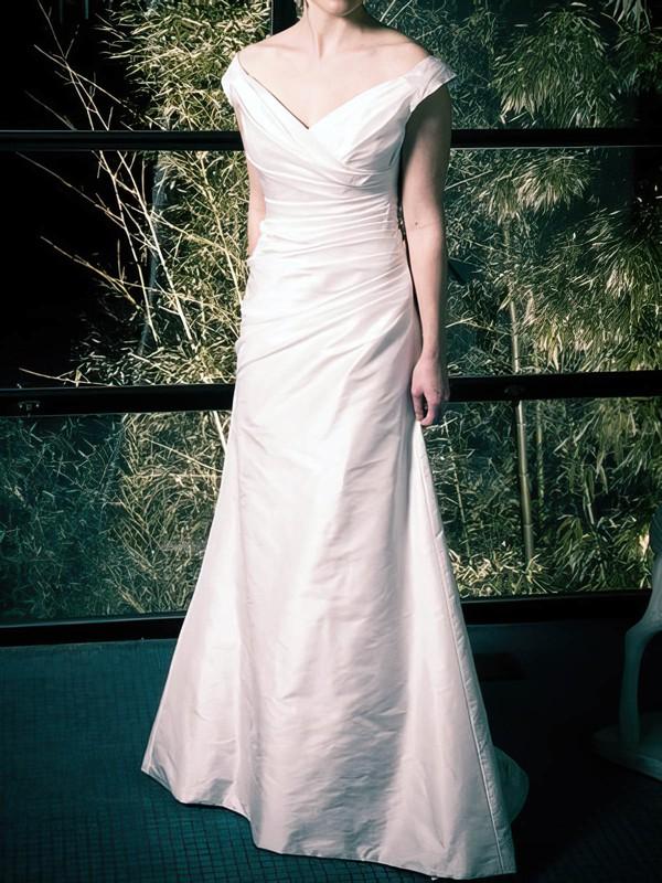 Off-the-shoulder Ivory Taffeta Ruffles Latest Sweep Train Wedding Dress #PDS00020808