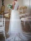 Beautiful Scoop Neck White Lace Tulle with Bow Court Train Wedding Dress #PDS00020809