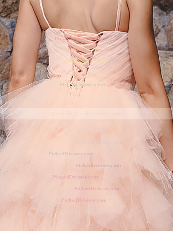 Knee-length Ball Gown Tiered Pink Tulle Lace-up Pretty Wedding Dresses #PDS00020813