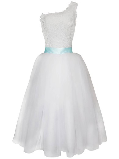Detachable White Lace Chiffon with Sashes/Ribbons One Shoulder Wedding Dress #PDS00020825