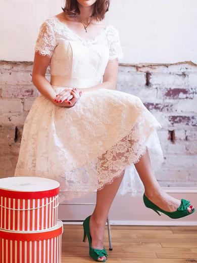 Beautiful Knee-length V-neck with Bow Ivory Lace Wedding Dress #PDS00020830