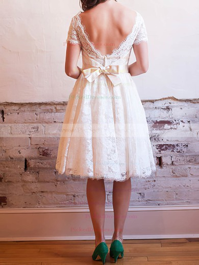 Beautiful Knee-length V-neck with Bow Ivory Lace Wedding Dress #PDS00020830