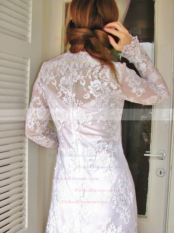Nicest Long Sleeve Sheath/Column White Lace Draped Scoop Neck Wedding Dress #PDS00020832