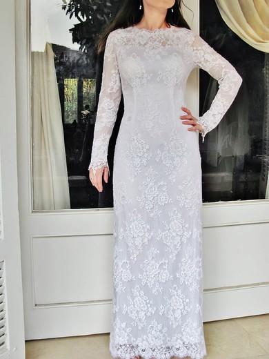 Nicest Long Sleeve Sheath/Column White Lace Draped Scoop Neck Wedding Dress #PDS00020832