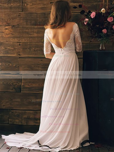Different White Chiffon Lace Off-the-shoulder Open Back 1/2 Sleeve Wedding Dresses #PDS00020839