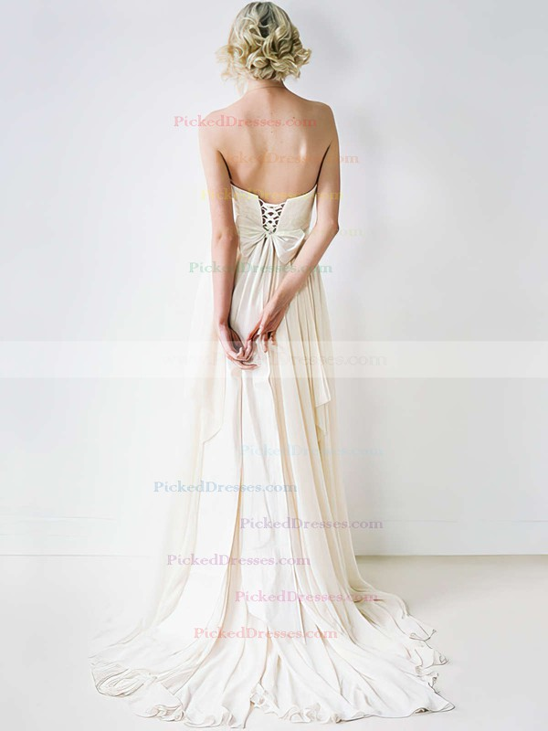 Famous Sweetheart Ivory Chiffon Lace-up Court Train Wedding Dress #PDS00020848