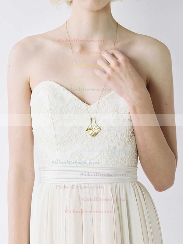 Famous Sweetheart Ivory Chiffon Lace-up Court Train Wedding Dress #PDS00020848