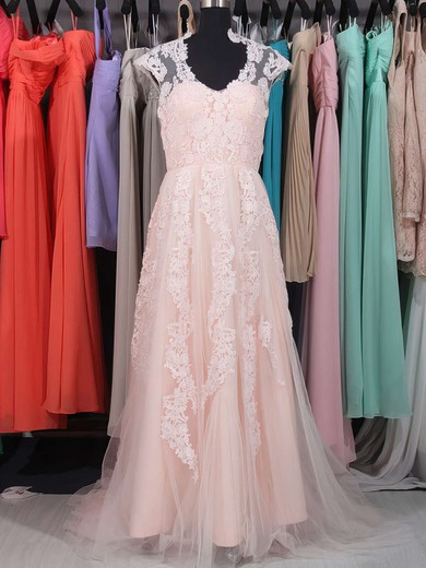 Sweep Train Pink Tulle with Appliques Lace V-neck Hot Wedding Dresses #PDS00020863