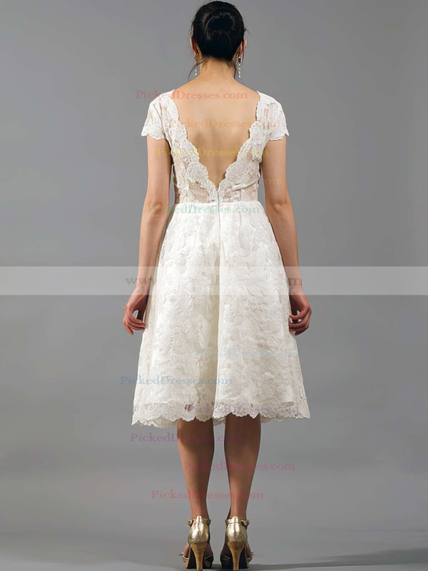 V-neck Short Sleeve Lace Draped Gorgeous Knee-length Wedding Dresses #PDS00020864