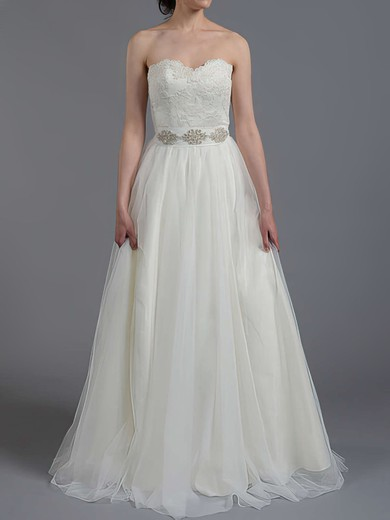 A-line Tulle Lace with Sashes/Ribbons Lace-up Nice Sweetheart Wedding Dress #PDS00020865