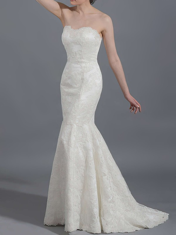 Trumpet/Mermaid Ivory Sweetheart Draped Lace-up Affordable Lace Wedding Dresses #PDS00020866