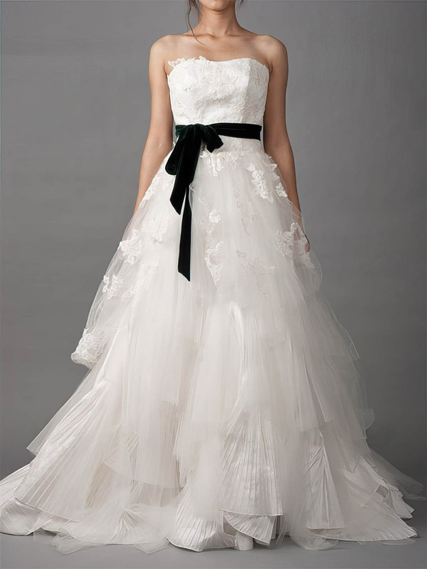 Coolest Strapless White Lace Tulle Sashes/Ribbons Court Train Wedding Dresses #PDS00020882