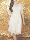 Prettiest Ivory Lace with Sashes/Ribbons Knee-length 1/2 Sleeve Wedding Dresses #PDS00020883