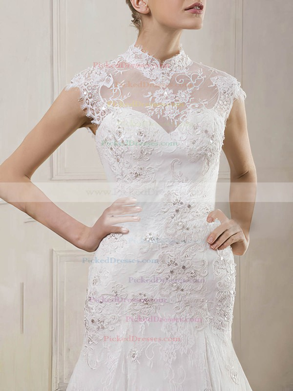 Inexpensive Open Back Lace Beading Trumpet/Mermaid High Neck Wedding Dress #PDS00020901