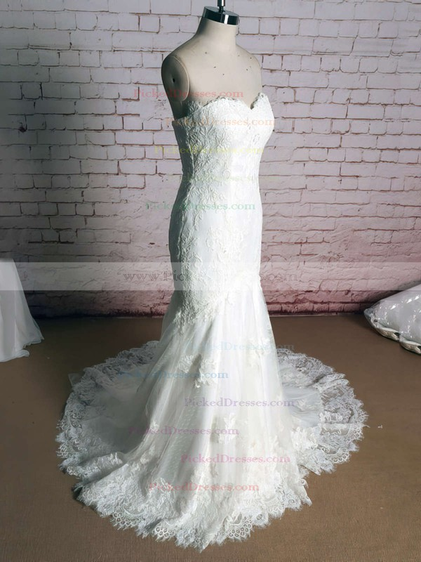 Ivory Lace Sweetheart with Appliques Lace Trumpet/Mermaid Funky Wedding Dress #PDS00020920