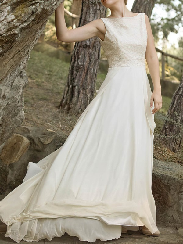 Different Court Train Ivory Chiffon Lace Open Back Scoop Neck Wedding Dress #PDS00020921