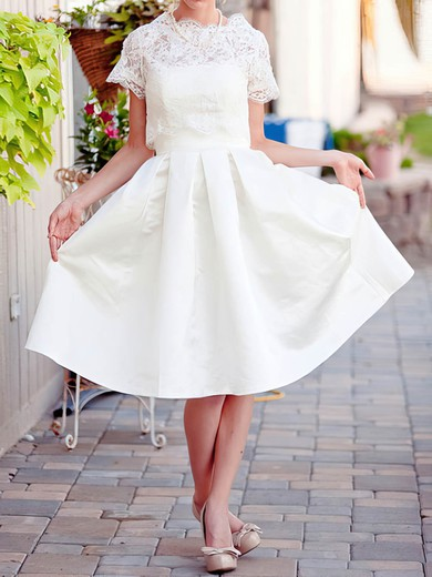 Ivory Short Sleeve Lace Satin Scalloped Neck with Pockets Knee-length Wedding Dress #PDS00020922