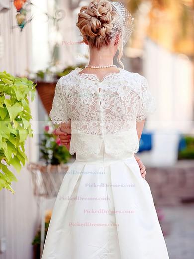 Ivory Short Sleeve Lace Satin Scalloped Neck with Pockets Knee-length Wedding Dress #PDS00020922