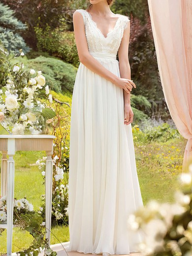 Discounted White Chiffon Lace Floor-length Sashes/Ribbons V-neck Wedding Dresses #PDS00020925
