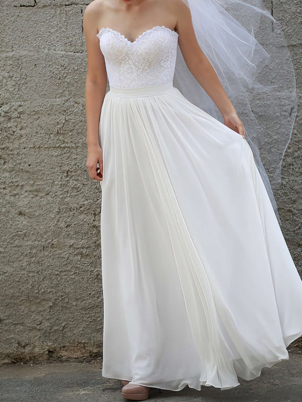Latest Chiffon Lace Sashes/Ribbons Sweetheart White A-line Wedding Dresses