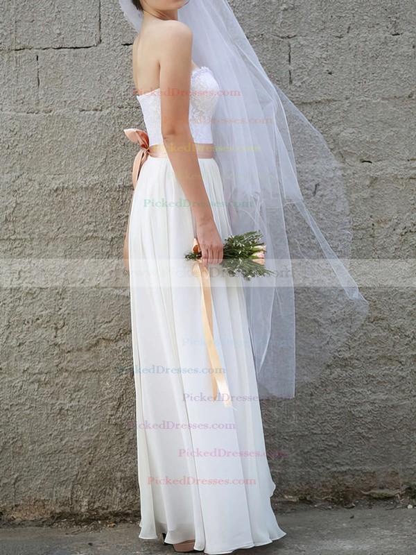 Latest Chiffon Lace Sashes/Ribbons Sweetheart White A-line Wedding Dresses #PDS00020954