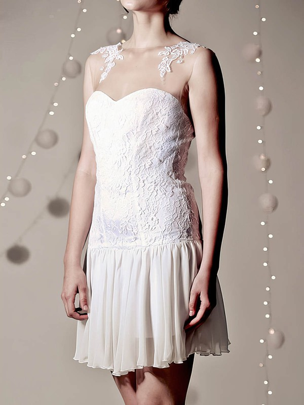 Sheath/Column White Lace Chiffon with Appliques Lace Hot Scoop Neck Wedding Dress
