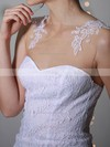Sheath/Column White Lace Chiffon with Appliques Lace Hot Scoop Neck Wedding Dress #PDS00020955